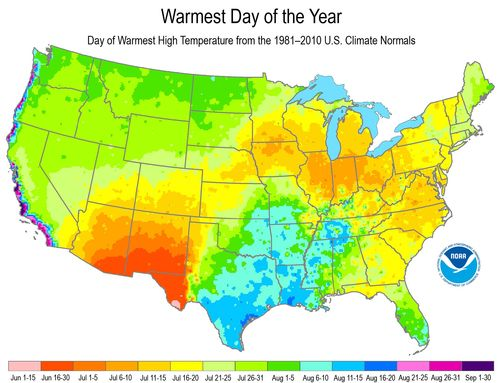 US-Warmest-Day-of-the-Year-Map